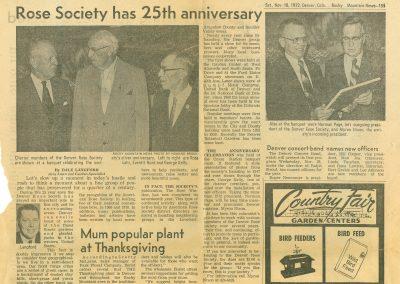 Rose Society Has 25th Anniversary; RMN: 11/18/72